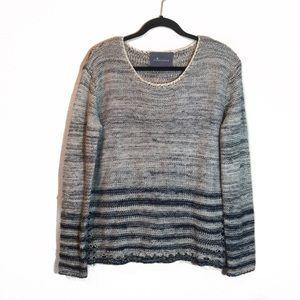 Anthro Paper Crane Blue Gray Striped Knit Sweater